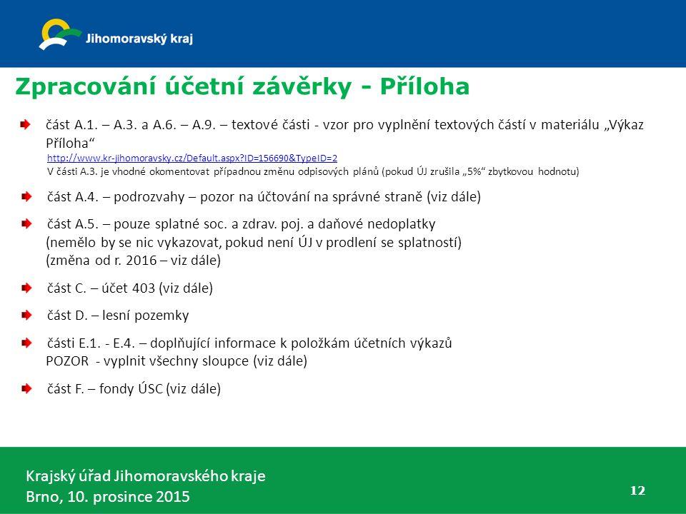 Krajský úřad Jihomoravského kraje Brno, 10. prosince 2015 12 Zpracování účetní závěrky - Příloha část A.1. – A.3. a A.6. – A.9. – textové části - vzor