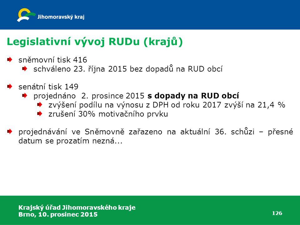 Krajský úřad Jihomoravského kraje Brno, 10. prosinec 2015 126 Legislativní vývoj RUDu (krajů) sněmovní tisk 416 schváleno 23. října 2015 bez dopadů na