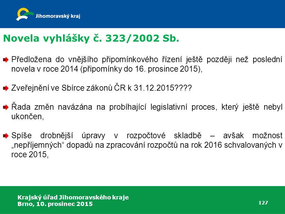 Krajský úřad Jihomoravského kraje Brno, 10. prosinec 2015 127 Předložena do vnějšího připomínkového řízení ještě později než poslední novela v roce 20