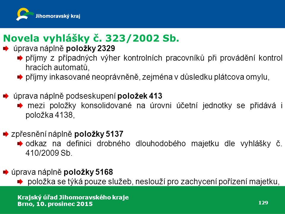 Krajský úřad Jihomoravského kraje Brno, 10. prosinec 2015 129 úprava náplně položky 2329 příjmy z případných výher kontrolních pracovníků při prováděn