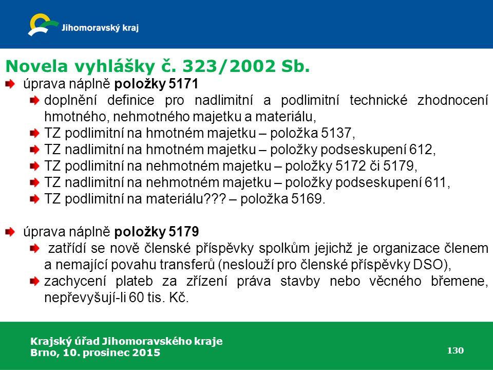 Krajský úřad Jihomoravského kraje Brno, 10. prosinec 2015 130 úprava náplně položky 5171 doplnění definice pro nadlimitní a podlimitní technické zhodn