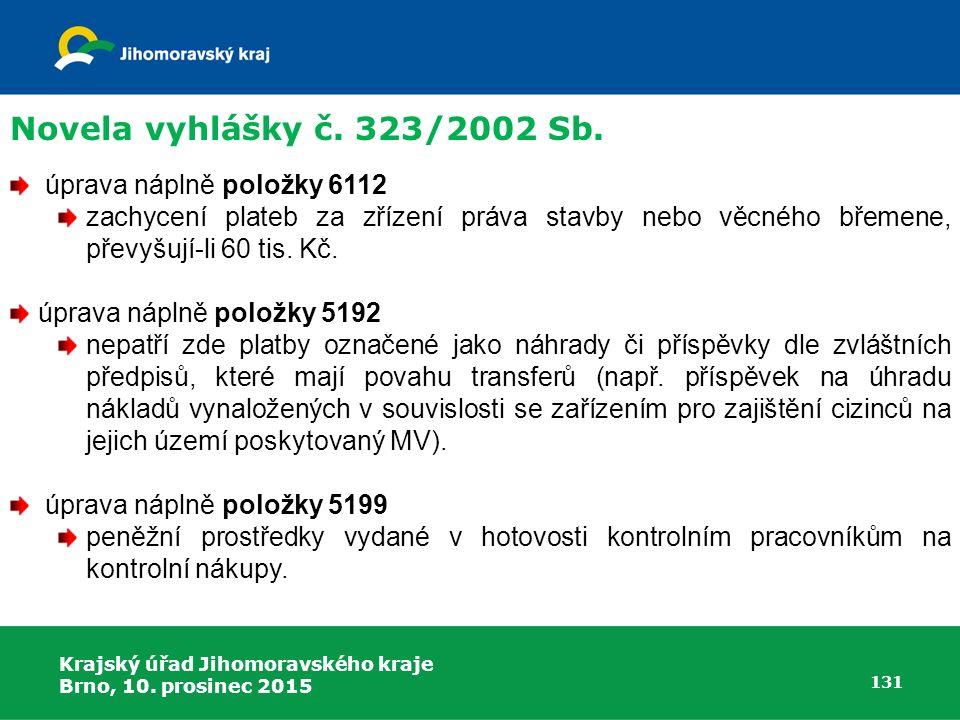 Krajský úřad Jihomoravského kraje Brno, 10. prosinec 2015 131 úprava náplně položky 6112 zachycení plateb za zřízení práva stavby nebo věcného břemene