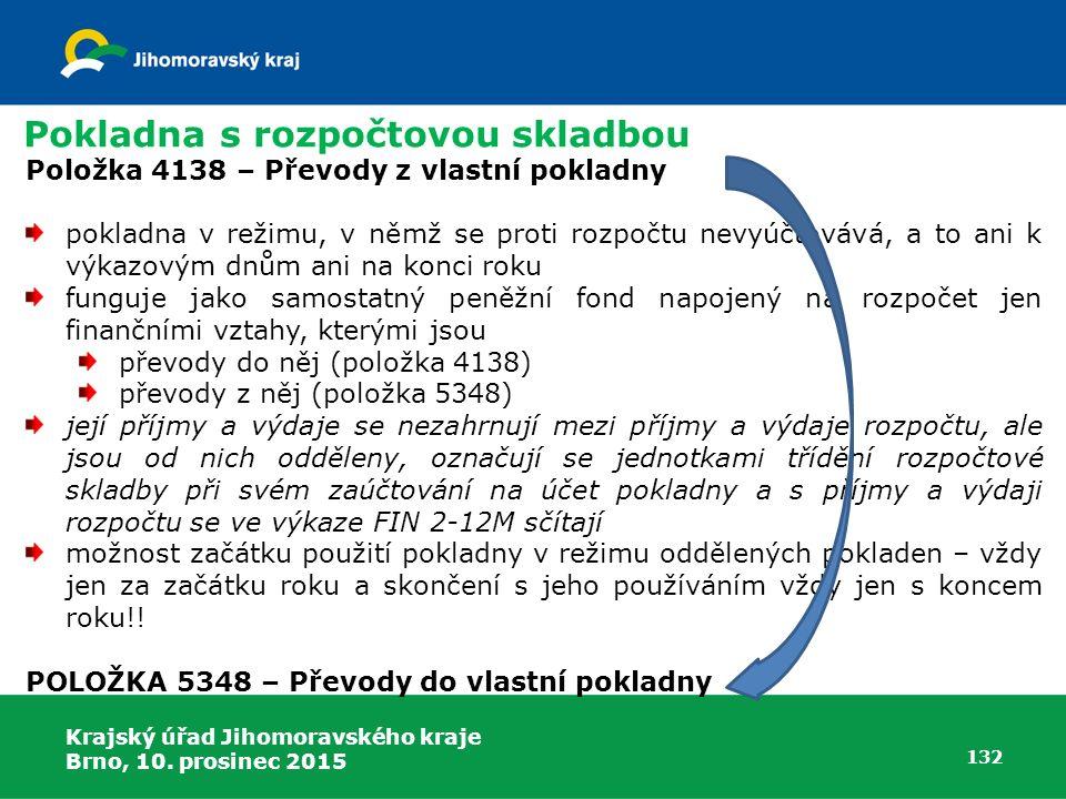 Krajský úřad Jihomoravského kraje Brno, 10. prosinec 2015 132 Pokladna s rozpočtovou skladbou Položka 4138 – Převody z vlastní pokladny pokladna v rež