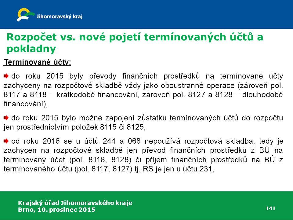 Krajský úřad Jihomoravského kraje Brno, 10. prosinec 2015 141 Termínované účty: do roku 2015 byly převody finančních prostředků na termínované účty za
