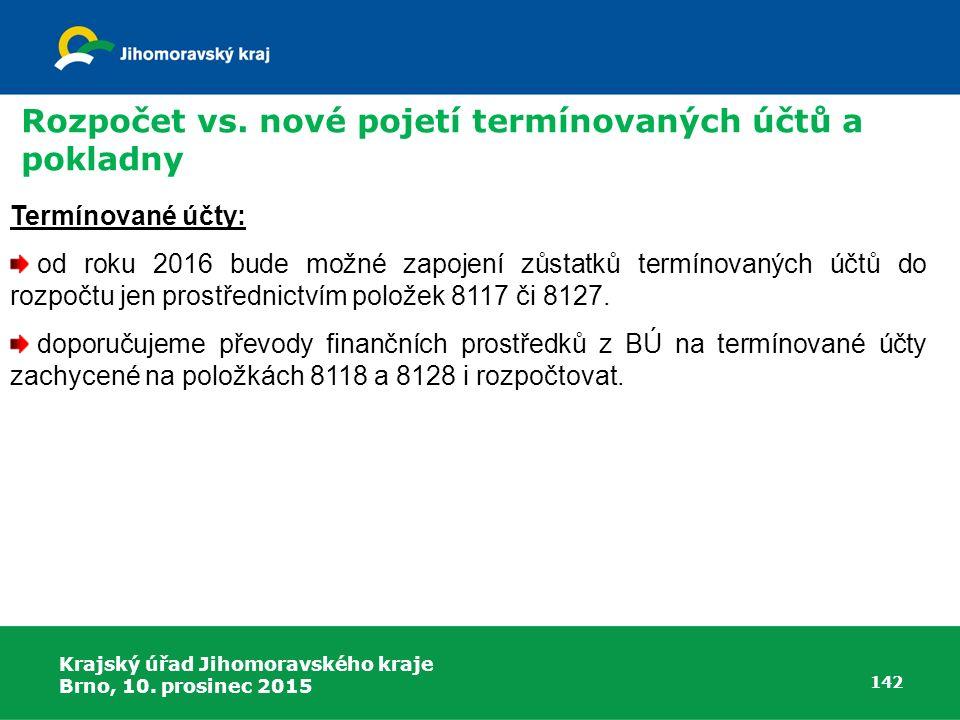 Krajský úřad Jihomoravského kraje Brno, 10. prosinec 2015 142 Termínované účty: od roku 2016 bude možné zapojení zůstatků termínovaných účtů do rozpoč