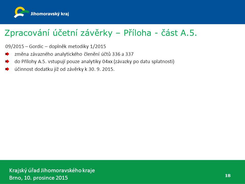 Krajský úřad Jihomoravského kraje Brno, 10. prosince 2015 18 Zpracování účetní závěrky – Příloha - část A.5. 09/2015 – Gordic – doplněk metodiky 1/201