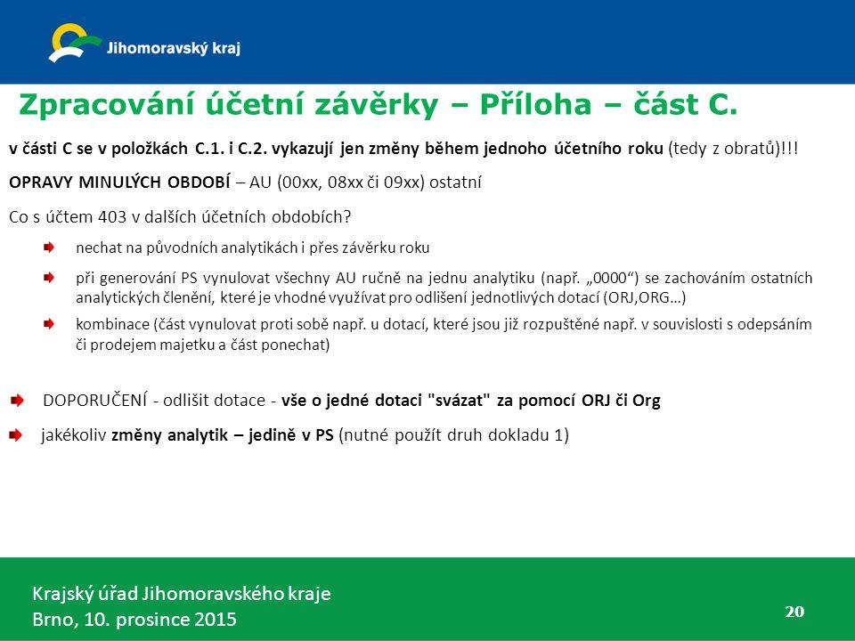 Krajský úřad Jihomoravského kraje Brno, 10. prosince 2015 20 Zpracování účetní závěrky – Příloha – část C. v části C se v položkách C.1. i C.2. vykazu