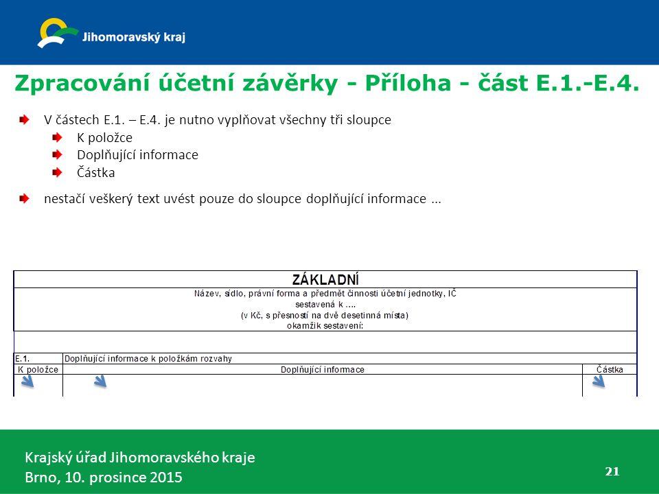 Krajský úřad Jihomoravského kraje Brno, 10. prosince 2015 21 Zpracování účetní závěrky - Příloha - část E.1.-E.4. V částech E.1. – E.4. je nutno vyplň