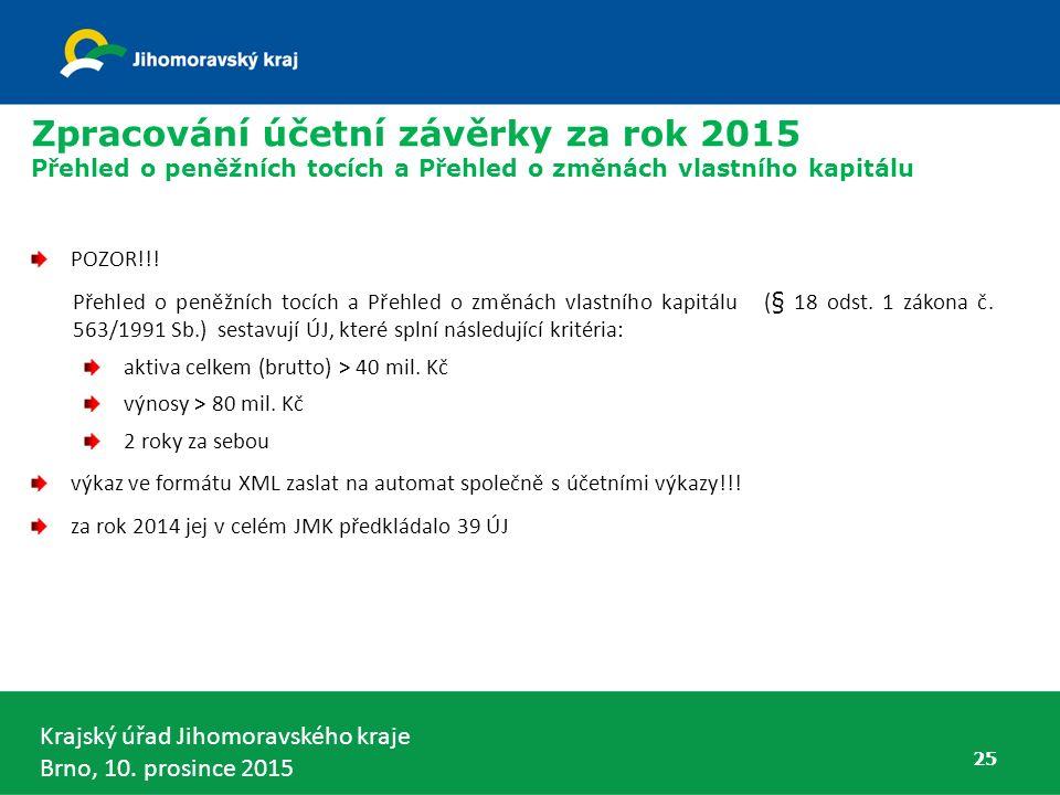 Krajský úřad Jihomoravského kraje Brno, 10. prosince 2015 25 Zpracování účetní závěrky za rok 2015 Přehled o peněžních tocích a Přehled o změnách vlas
