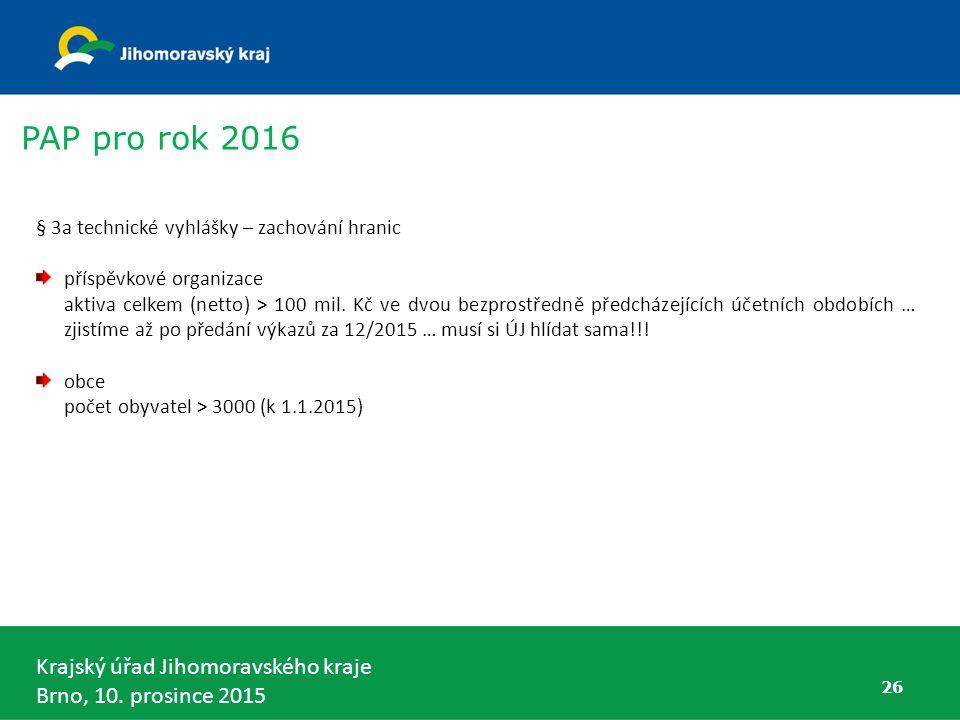 Krajský úřad Jihomoravského kraje Brno, 10. prosince 2015 § 3a technické vyhlášky – zachování hranic příspěvkové organizace aktiva celkem (netto) > 10