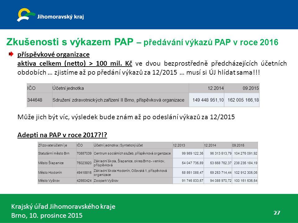 Krajský úřad Jihomoravského kraje Brno, 10. prosince 2015 příspěvkové organizace aktiva celkem (netto) > 100 mil. Kč ve dvou bezprostředně předcházejí