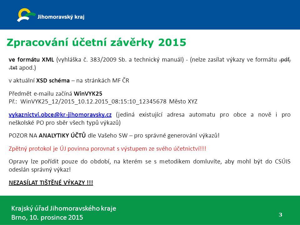 Krajský úřad Jihomoravského kraje Brno, 10. prosince 2015 ve formátu XML (vyhláška č. 383/2009 Sb. a technický manuál) - (nelze zasílat výkazy ve form