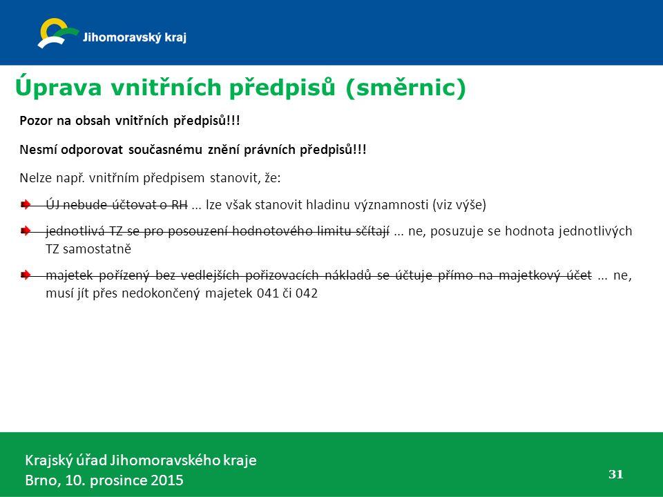 Krajský úřad Jihomoravského kraje Brno, 10. prosince 2015 Úprava vnitřních předpisů (směrnic) 31 Pozor na obsah vnitřních předpisů!!! Nesmí odporovat