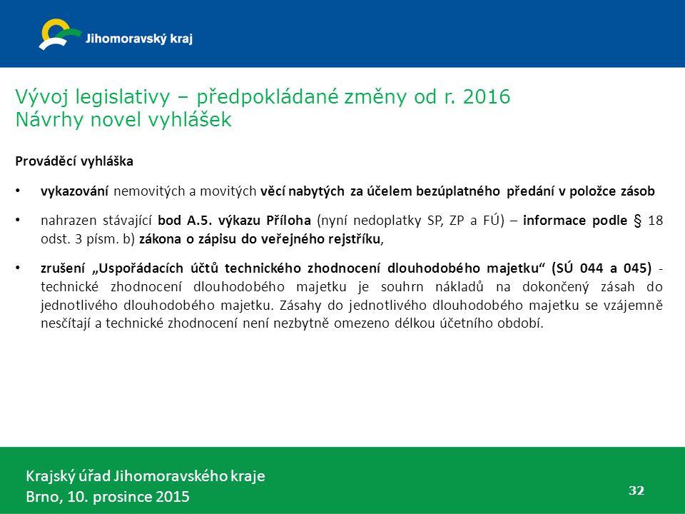 Krajský úřad Jihomoravského kraje Brno, 10. prosince 2015 32 Prováděcí vyhláška vykazování nemovitých a movitých věcí nabytých za účelem bezúplatného