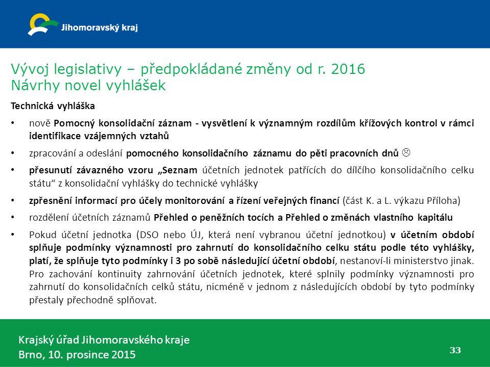 Krajský úřad Jihomoravského kraje Brno, 10. prosince 2015 33 Technická vyhláška nově Pomocný konsolidační záznam - vysvětlení k významným rozdílům kří