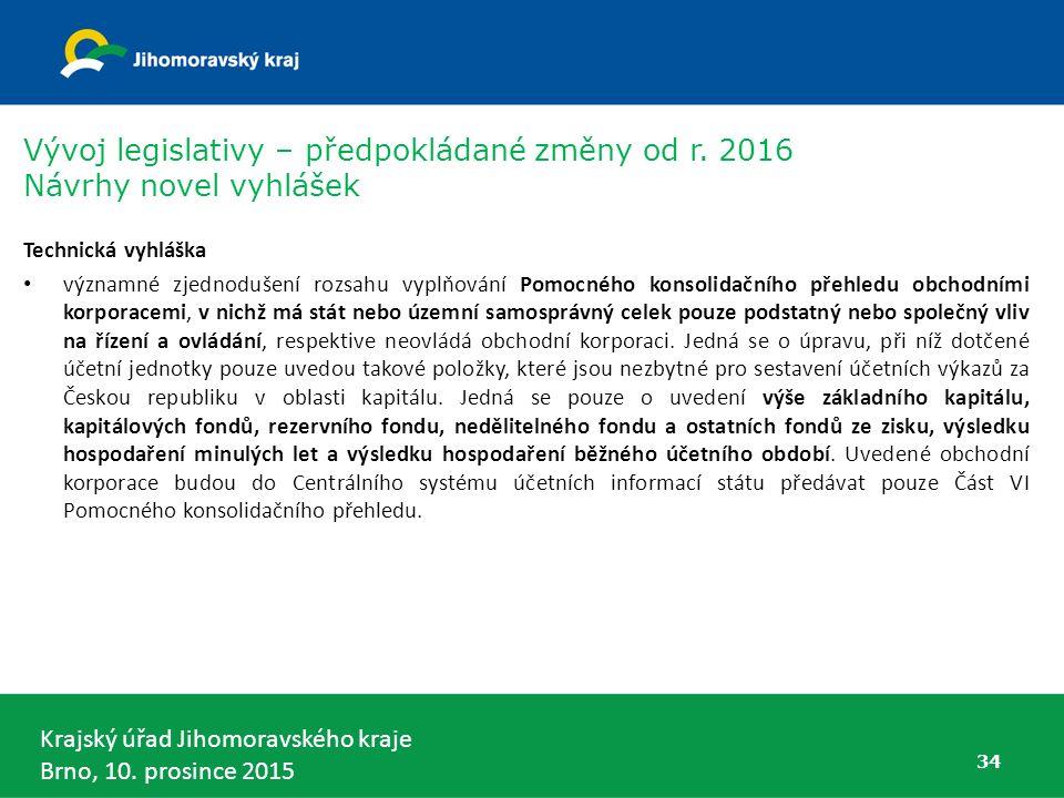 Krajský úřad Jihomoravského kraje Brno, 10. prosince 2015 34 Technická vyhláška významné zjednodušení rozsahu vyplňování Pomocného konsolidačního přeh