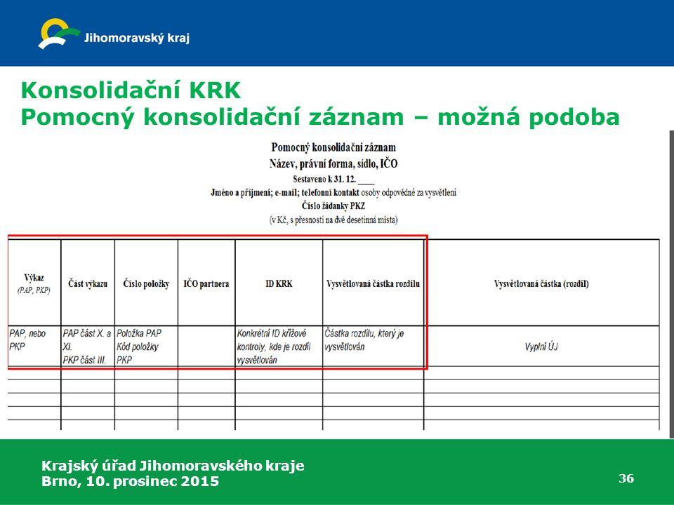 Krajský úřad Jihomoravského kraje Brno, 10. prosinec 2015 36 Konsolidační KRK Pomocný konsolidační záznam – možná podoba