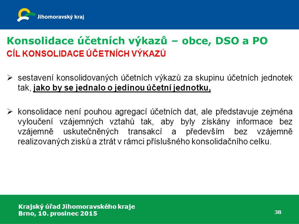 Krajský úřad Jihomoravského kraje Brno, 10. prosinec 2015 38 Konsolidace účetních výkazů – obce, DSO a PO CÍL KONSOLIDACE ÚČETNÍCH VÝKAZŮ  sestavení