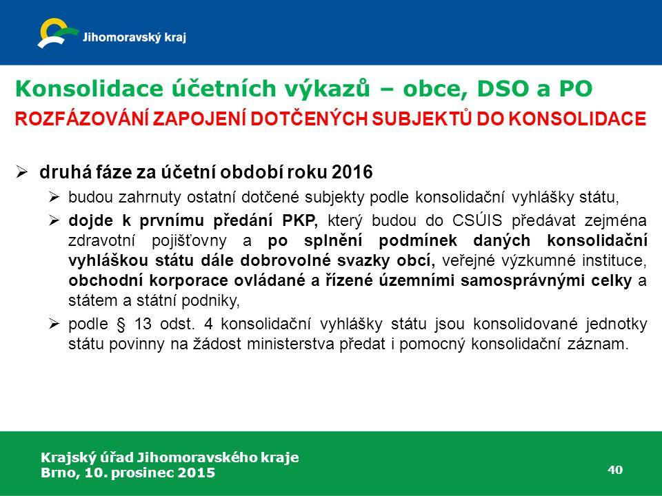 Krajský úřad Jihomoravského kraje Brno, 10. prosinec 2015 40 Konsolidace účetních výkazů – obce, DSO a PO ROZFÁZOVÁNÍ ZAPOJENÍ DOTČENÝCH SUBJEKTŮ DO K
