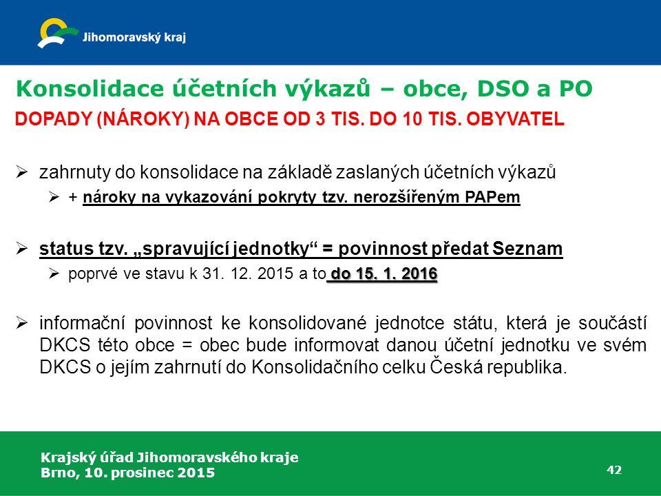 Krajský úřad Jihomoravského kraje Brno, 10. prosinec 2015 42 Konsolidace účetních výkazů – obce, DSO a PO DOPADY (NÁROKY) NA OBCE OD 3 TIS. DO 10 TIS.