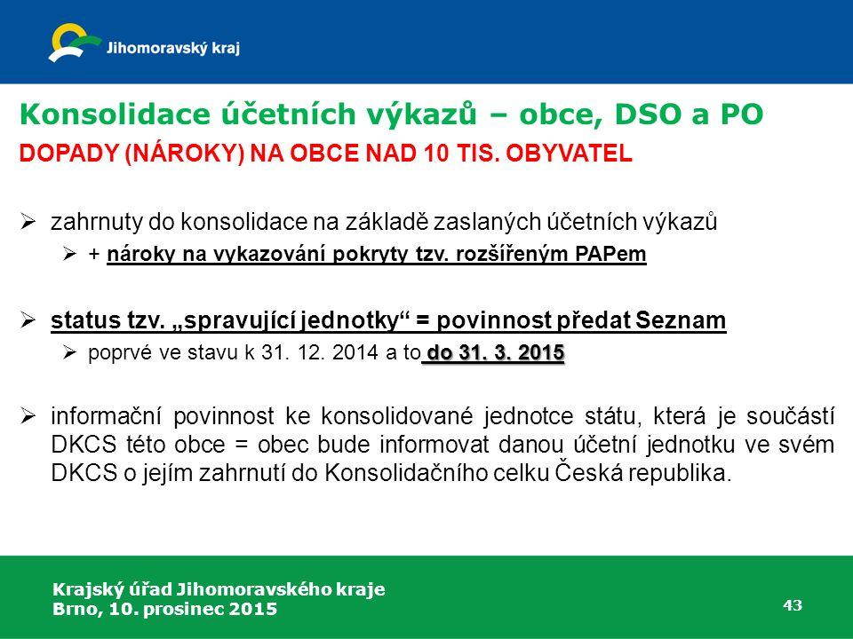 Krajský úřad Jihomoravského kraje Brno, 10. prosinec 2015 43 Konsolidace účetních výkazů – obce, DSO a PO DOPADY (NÁROKY) NA OBCE NAD 10 TIS. OBYVATEL