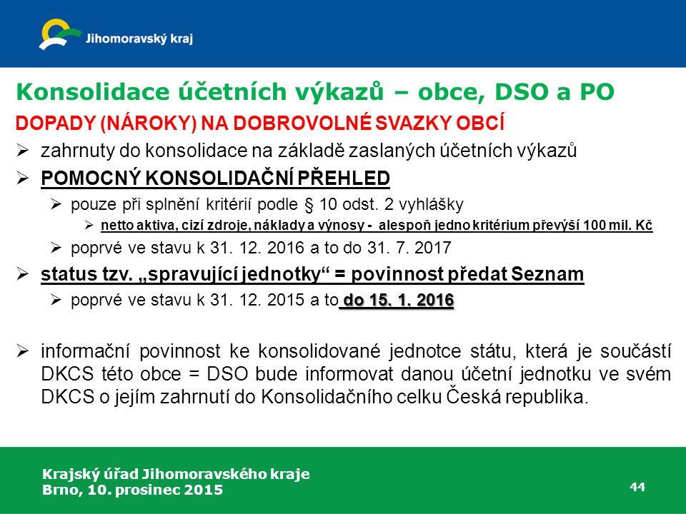 Krajský úřad Jihomoravského kraje Brno, 10. prosinec 2015 44 Konsolidace účetních výkazů – obce, DSO a PO DOPADY (NÁROKY) NA DOBROVOLNÉ SVAZKY OBCÍ 