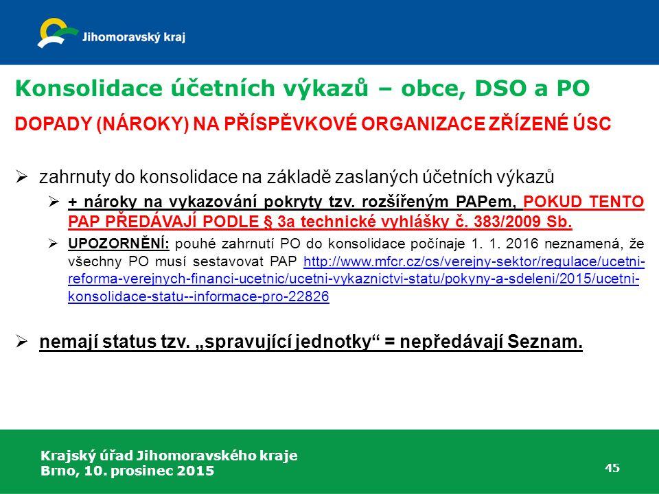 Krajský úřad Jihomoravského kraje Brno, 10. prosinec 2015 45 Konsolidace účetních výkazů – obce, DSO a PO DOPADY (NÁROKY) NA PŘÍSPĚVKOVÉ ORGANIZACE ZŘ