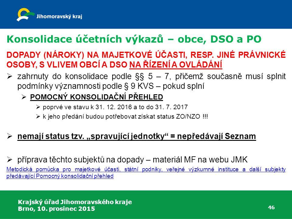 Krajský úřad Jihomoravského kraje Brno, 10. prosinec 2015 46 Konsolidace účetních výkazů – obce, DSO a PO DOPADY (NÁROKY) NA MAJETKOVÉ ÚČASTI, RESP. J