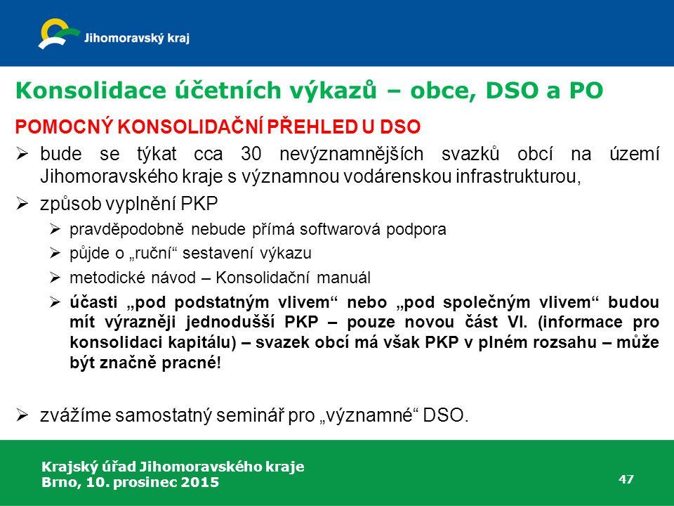 Krajský úřad Jihomoravského kraje Brno, 10. prosinec 2015 47 Konsolidace účetních výkazů – obce, DSO a PO POMOCNÝ KONSOLIDAČNÍ PŘEHLED U DSO  bude se