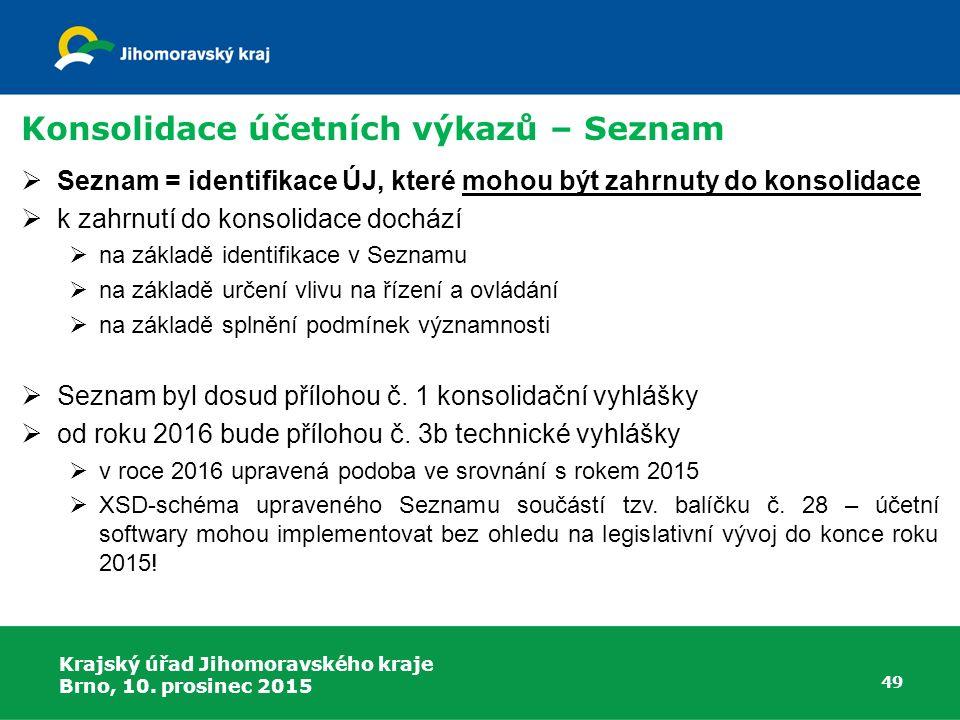 Krajský úřad Jihomoravského kraje Brno, 10. prosinec 2015 49 Konsolidace účetních výkazů – Seznam  Seznam = identifikace ÚJ, které mohou být zahrnuty