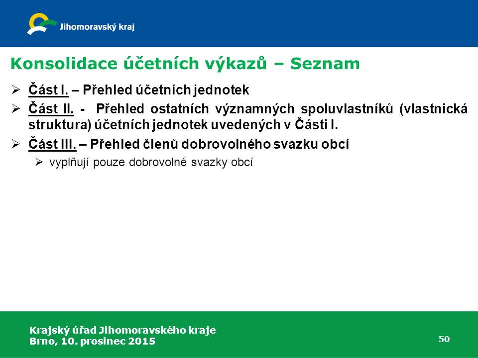 Krajský úřad Jihomoravského kraje Brno, 10. prosinec 2015 50 Konsolidace účetních výkazů – Seznam  Část I. – Přehled účetních jednotek  Část II. - P