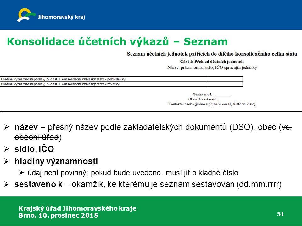 Krajský úřad Jihomoravského kraje Brno, 10. prosinec 2015 51 Konsolidace účetních výkazů – Seznam  název – přesný název podle zakladatelských dokumen