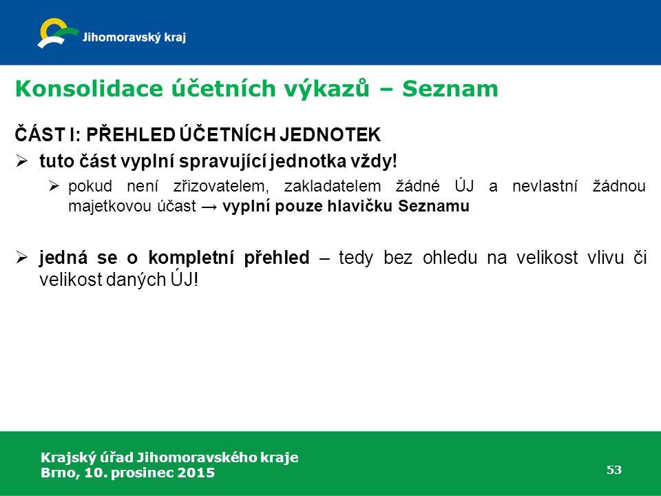 Krajský úřad Jihomoravského kraje Brno, 10. prosinec 2015 53 Konsolidace účetních výkazů – Seznam ČÁST I: PŘEHLED ÚČETNÍCH JEDNOTEK  tuto část vyplní