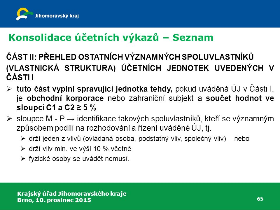 Krajský úřad Jihomoravského kraje Brno, 10. prosinec 2015 65 Konsolidace účetních výkazů – Seznam ČÁST II: PŘEHLED OSTATNÍCH VÝZNAMNÝCH SPOLUVLASTNÍKŮ
