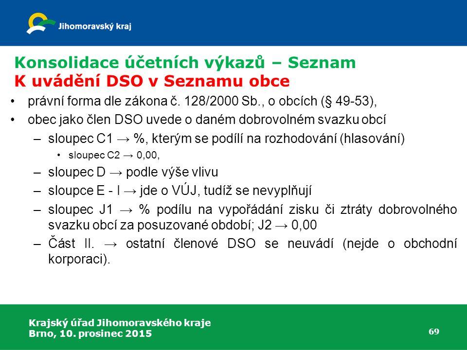 Krajský úřad Jihomoravského kraje Brno, 10. prosinec 2015 69 Konsolidace účetních výkazů – Seznam K uvádění DSO v Seznamu obce právní forma dle zákona