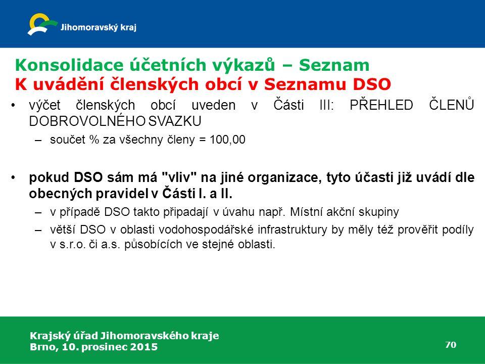 Krajský úřad Jihomoravského kraje Brno, 10. prosinec 2015 70 Konsolidace účetních výkazů – Seznam K uvádění členských obcí v Seznamu DSO výčet členský