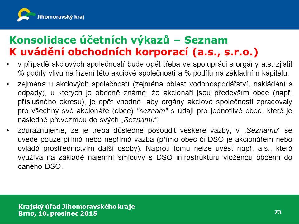 Krajský úřad Jihomoravského kraje Brno, 10. prosinec 2015 73 Konsolidace účetních výkazů – Seznam K uvádění obchodních korporací (a.s., s.r.o.) v příp