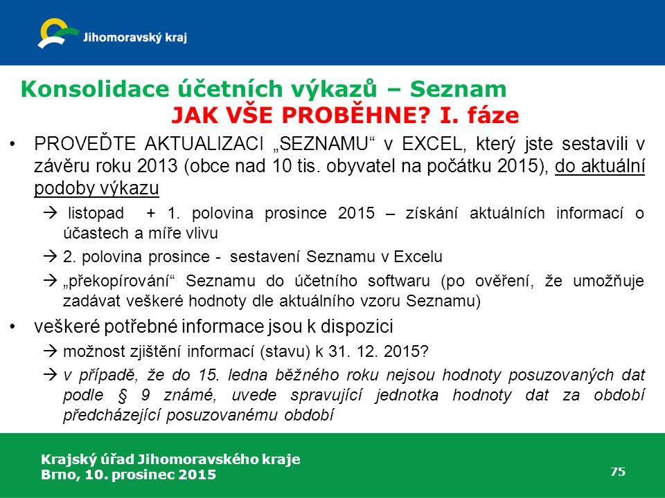 """Krajský úřad Jihomoravského kraje Brno, 10. prosinec 2015 75 Konsolidace účetních výkazů – Seznam JAK VŠE PROBĚHNE? I. fáze PROVEĎTE AKTUALIZACI """"SEZN"""