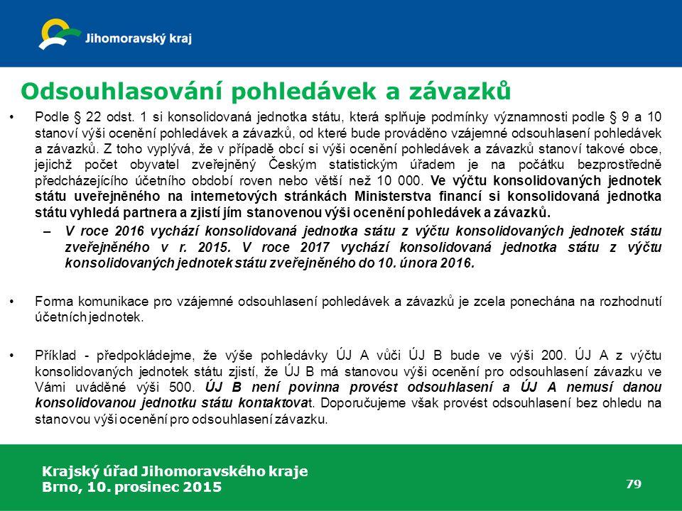 Krajský úřad Jihomoravského kraje Brno, 10. prosinec 2015 79 Odsouhlasování pohledávek a závazků Podle § 22 odst. 1 si konsolidovaná jednotka státu, k