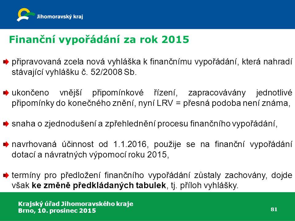 Krajský úřad Jihomoravského kraje Brno, 10. prosinec 2015 81 připravovaná zcela nová vyhláška k finančnímu vypořádání, která nahradí stávající vyhlášk