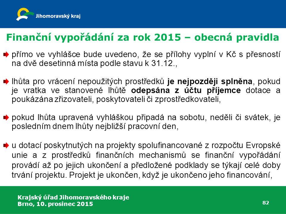 Krajský úřad Jihomoravského kraje Brno, 10. prosinec 2015 82 přímo ve vyhlášce bude uvedeno, že se přílohy vyplní v Kč s přesností na dvě desetinná mí