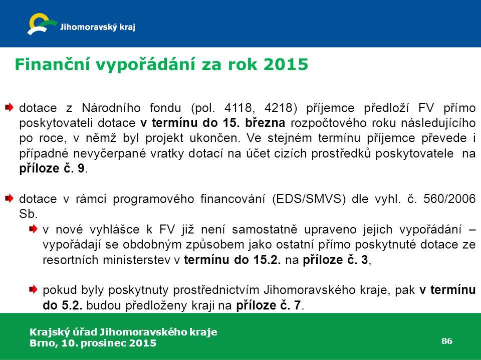 Krajský úřad Jihomoravského kraje Brno, 10. prosinec 2015 86 dotace z Národního fondu (pol. 4118, 4218) příjemce předloží FV přímo poskytovateli dotac
