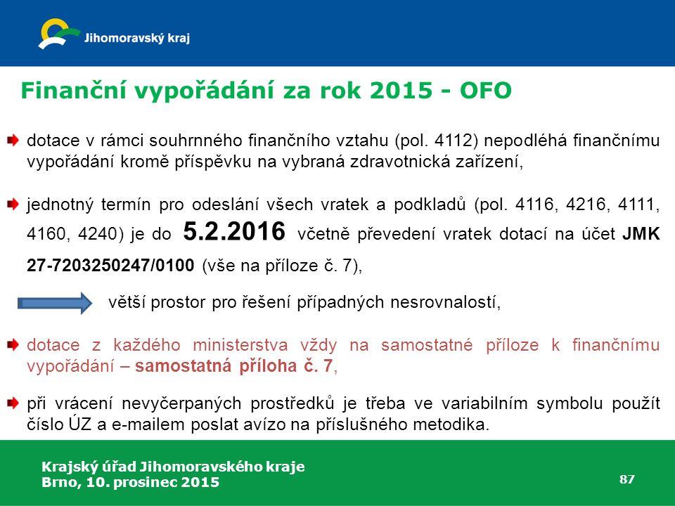 Krajský úřad Jihomoravského kraje Brno, 10. prosinec 2015 87 dotace v rámci souhrnného finančního vztahu (pol. 4112) nepodléhá finančnímu vypořádání k