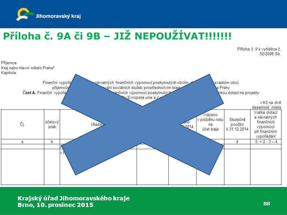 Krajský úřad Jihomoravského kraje Brno, 10. prosinec 2015 88 Příloha č. 9A či 9B – JIŽ NEPOUŽÍVAT!!!!!!! Příloha č. 9 k vyhlášce č. 52/2008 Sb. Příjem