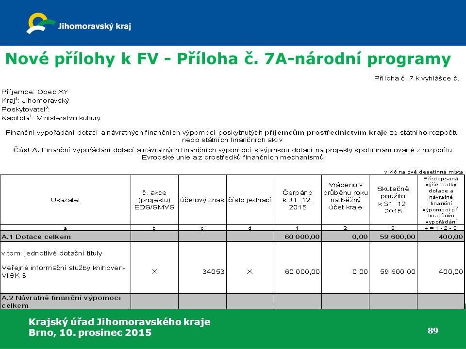 Krajský úřad Jihomoravského kraje Brno, 10. prosinec 2015 89 Nové přílohy k FV - Příloha č. 7A-národní programy