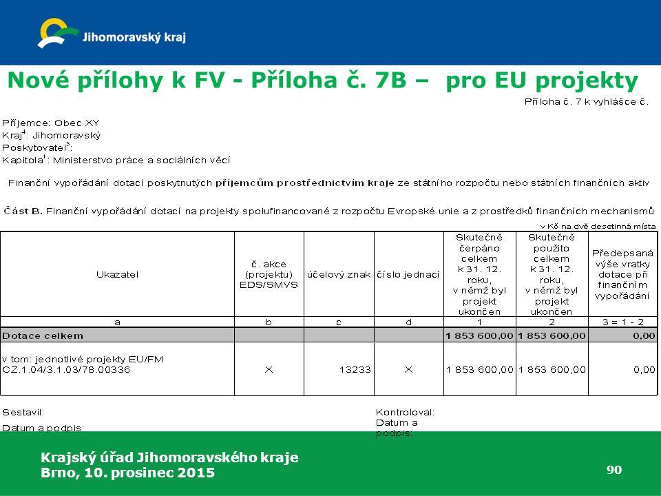 Krajský úřad Jihomoravského kraje Brno, 10. prosinec 2015 90 Nové přílohy k FV - Příloha č. 7B – pro EU projekty