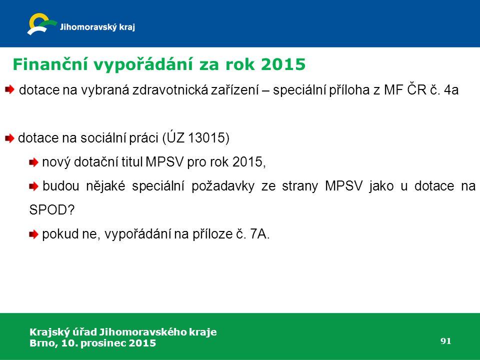 Krajský úřad Jihomoravského kraje Brno, 10. prosinec 2015 91 dotace na vybraná zdravotnická zařízení – speciální příloha z MF ČR č. 4a dotace na sociá