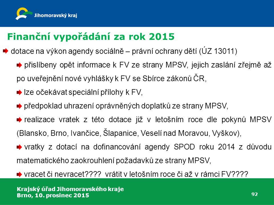 Krajský úřad Jihomoravského kraje Brno, 10. prosinec 2015 92 dotace na výkon agendy sociálně – právní ochrany dětí (ÚZ 13011) přislíbeny opět informac
