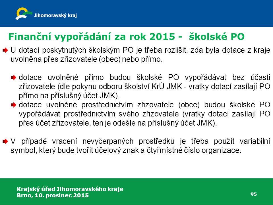 Krajský úřad Jihomoravského kraje Brno, 10. prosinec 2015 95 U dotací poskytnutých školským PO je třeba rozlišit, zda byla dotace z kraje uvolněna pře