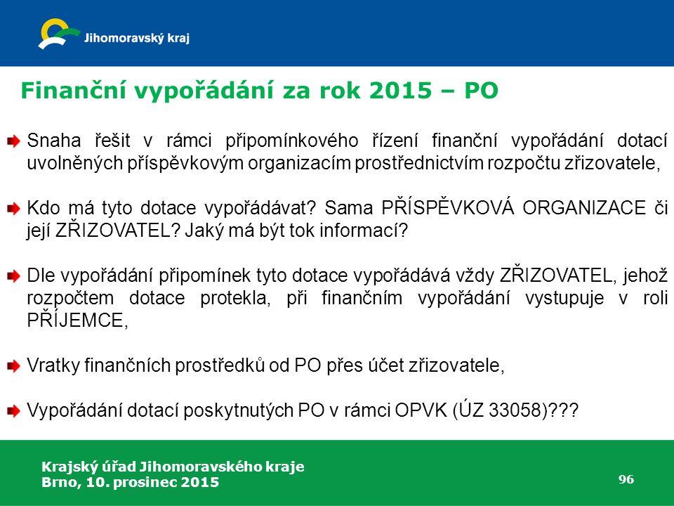 Krajský úřad Jihomoravského kraje Brno, 10. prosinec 2015 96 Snaha řešit v rámci připomínkového řízení finanční vypořádání dotací uvolněných příspěvko